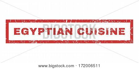 Egyptian Cuisine text rubber seal stamp watermark. Caption inside rectangular banner with grunge design and unclean texture. Horizontal vector red ink sign on a white background.