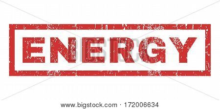 Energy text rubber seal stamp watermark. Caption inside rectangular shape with grunge design and unclean texture. Horizontal vector red ink emblem on a white background.