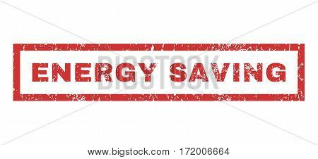 Energy Saving text rubber seal stamp watermark. Tag inside rectangular banner with grunge design and unclean texture. Horizontal vector red ink sign on a white background.