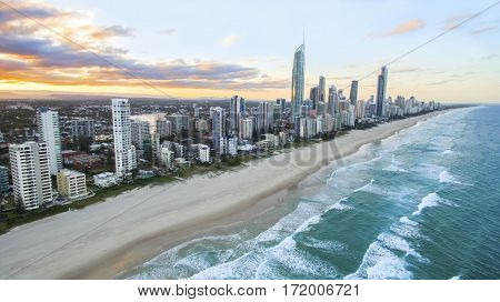 Aerial view of sunset over Gold Coast Surfers Paradise