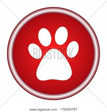 Vector round red icon footprint of an animal.