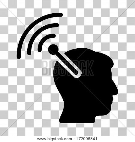 Radio Neural Interface vector pictogram. Illustration style is a flat iconic black symbol on a transparent background.