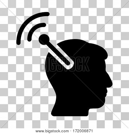 Radio Neural Interface vector pictograph. Illustration style is a flat iconic black symbol on a transparent background.