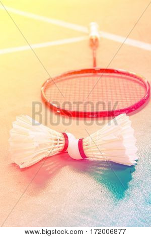 shuttlecocks on badminton courts with color filters