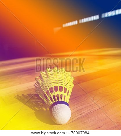 Shuttlecock badminton on court background with color filters