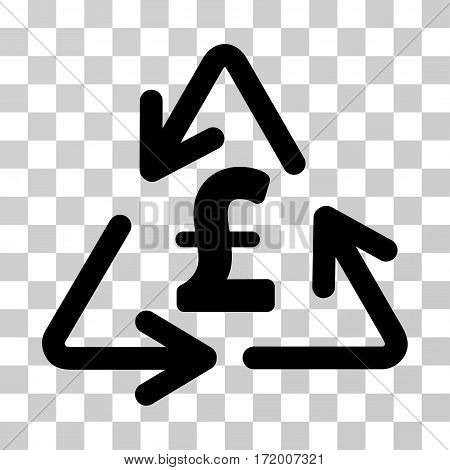 Recycling Pound Cost vector pictograph. Illustration style is a flat iconic black symbol on a transparent background.