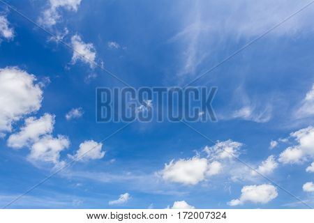 Blue sky and cloud background on natural light