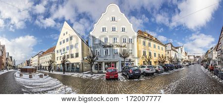 Old Houses In Small Town Of Guenzburg In Bavaria