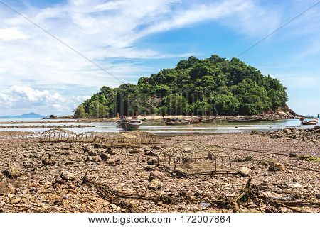 Fishing Village At Low Tide - Ethnic Buildings, Thailand.