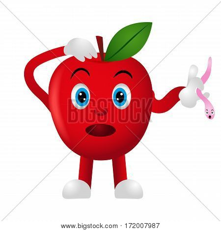 Emoji fruit. Funny Apple with worm on a white background. Smile. Vector illustration. Cartoon.