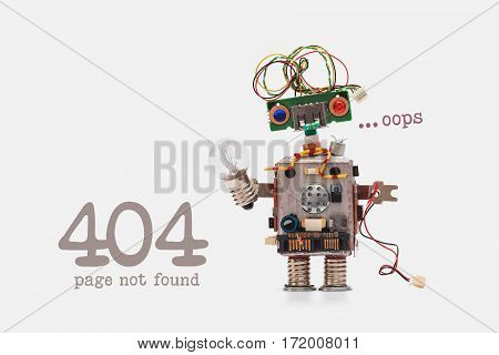 Oops 404 Error Page Not Found. Futuristic Robot Concept With Electrical Wire Hairstyle. Circuits Soc