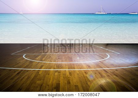 Basketball court with view of the sea