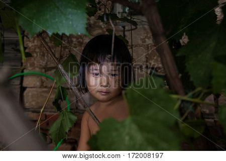 portrait of a little village girls asian like amazon