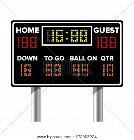 American Football Scoreboard. Sport Game Score. Digital LED Dots. Vector