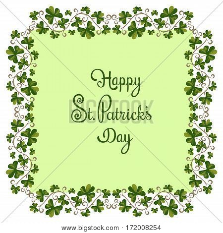 Shamrocks pattern. Freehand drawn vintage style. St Patricks Day background, greeting card design. Green clover border and frame. Ireland symbol. Vector decorative ornament shamrock for Irish holiday