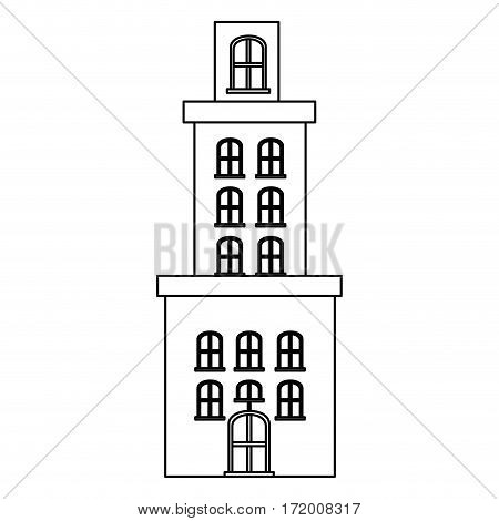 silhouette apartment residence with several floors vector illustration