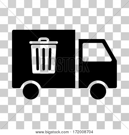 Rubbish Transport Van vector pictogram. Illustration style is a flat iconic black symbol on a transparent background.