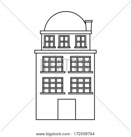 silhouette edifice residence with three floors and terrace vector illustration