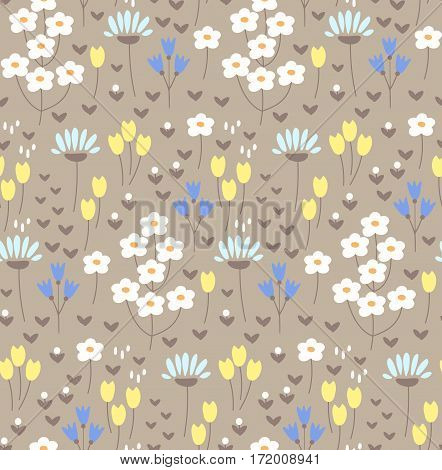 Seamless pattern with cute doodle flowers. For textile backgrounds and surface design.