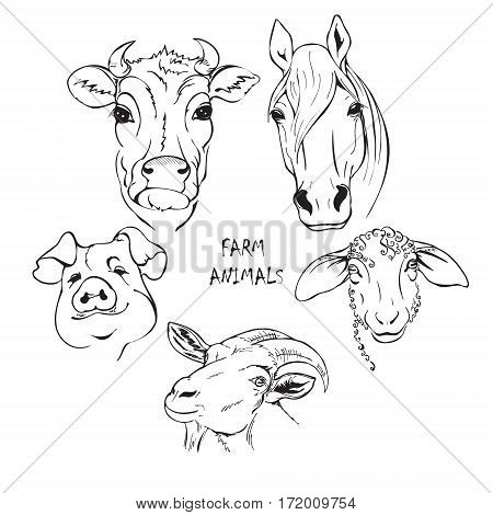 farm animals set horse cow sheep goat and pig black and white stylized vector illustration