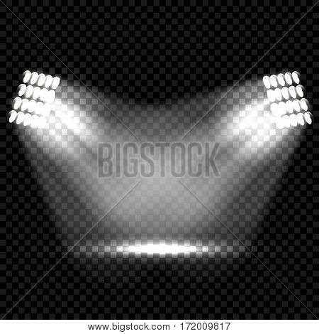 Spotlights scene light effects. Stage light spotlight vector. Vector illustration