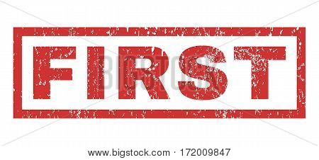 First text rubber seal stamp watermark. Caption inside rectangular banner with grunge design and dust texture. Horizontal vector red ink emblem on a white background.