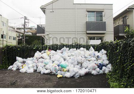 Garbage Dump Area For Japanese People Dumping Rubbish At Shinjuku City