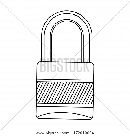 silhouette metal padlock with striped body and shackle vector illustration