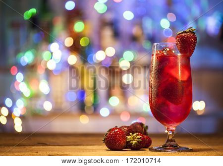 Glass Of Strawberry Cocktail