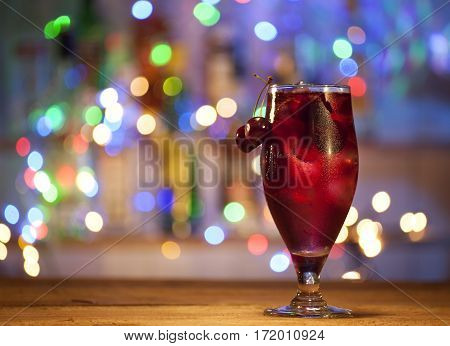 Glass Of Cherry Cocktail