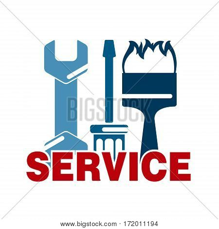 Service sign with business tool vector design