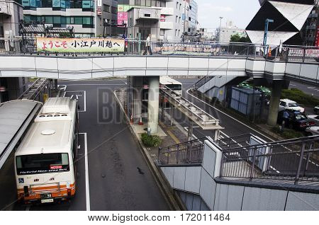 View Landscape Of Traffic Road With Bus Station In Saitama, Japan