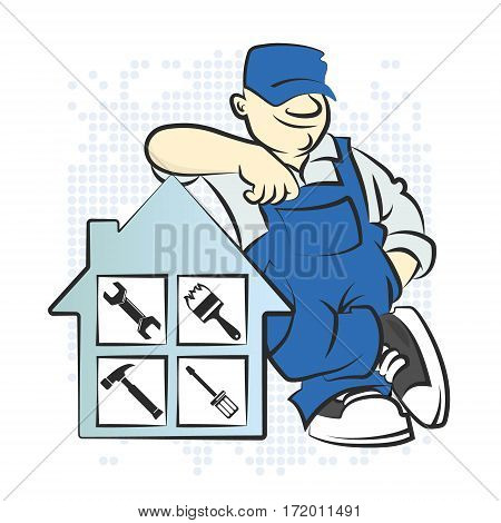 Serviceman with the tool vector illustration design
