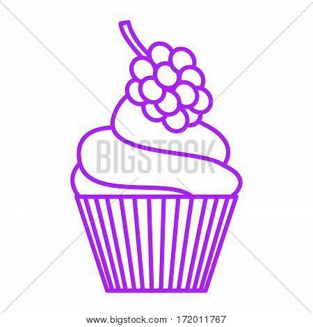 simple thin line rasberry cupcake icon vector