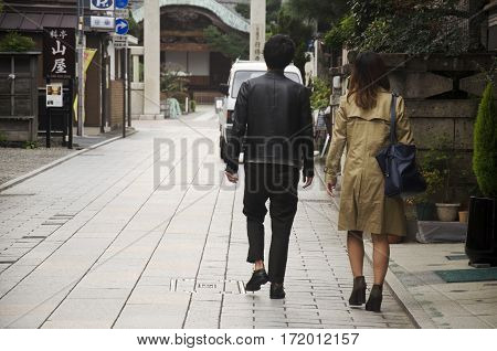 Japanese people walking and dating on street at small alley in Kawagoe or Kawagoe Little Edo in town of Kanto region on October 19 2016 in Saitama Japan