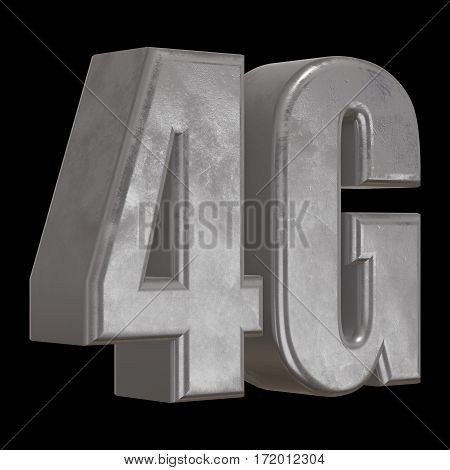 Metal 4G icon on black background. 3D render letters