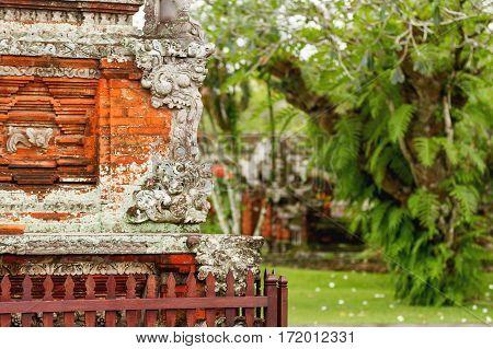 Sculpture detail in Taman Ayun Temple Bali. Indonesia.