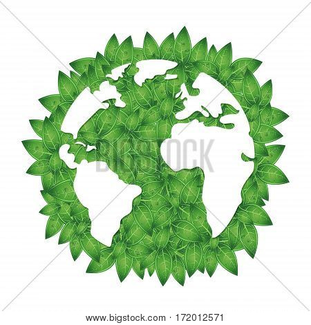 Silhouette of earth and green leaves symbol of environmental protection