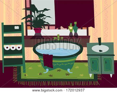 Cartoon Flat bathroom interior vector illustration. Set of element furniture. Designer bath, window, flowers, shelves, cabinets, sink, floor, curtains and towel
