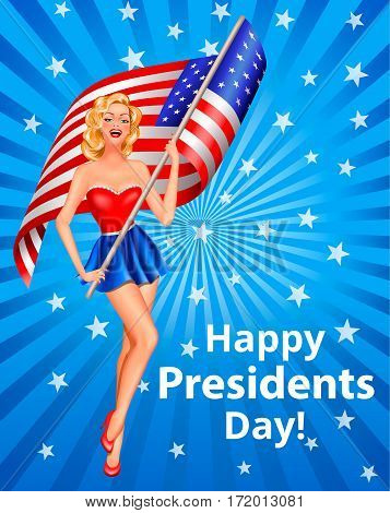 Happy Presidents Day Greeting Card with Beautiful Woman Holding USA Flag