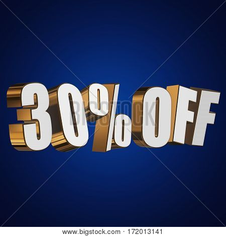 30 percent off letters on blue background. 3d render isolated.