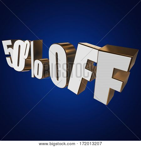 50 percent off letters on blue background. 3d render isolated.