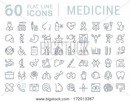 Set vector line icons sign in flat design medicine pharmacology oncology blood count medical ethics with elements for mobile concepts and web app. Collection modern infographic logo or pictogram.