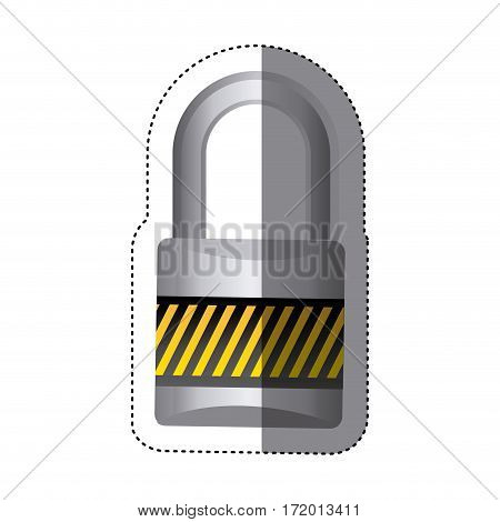 sticker metal padlock with striped colorful body and shackle vector illustration