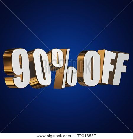 90 percent off letters on blue background. 3d render isolated.