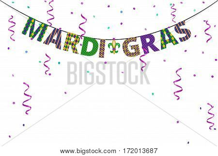 Mardi gras greetings bunting isolated on white