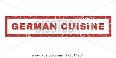 German Cuisine text rubber seal stamp watermark. Tag inside rectangular shape with grunge design and unclean texture. Horizontal vector red ink emblem on a white background.