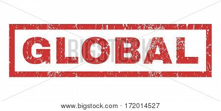 Global text rubber seal stamp watermark. Tag inside rectangular banner with grunge design and unclean texture. Horizontal vector red ink emblem on a white background.