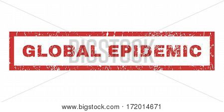 Global Epidemic text rubber seal stamp watermark. Caption inside rectangular shape with grunge design and dust texture. Horizontal vector red ink sticker on a white background.