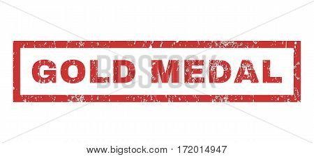 Gold Medal text rubber seal stamp watermark. Caption inside rectangular banner with grunge design and unclean texture. Horizontal vector red ink sign on a white background.